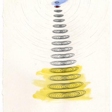 #25 - 2012 -pencil and watercolor on paper - 8 7/8 x 8 7/8 – Frame 9 7/8 x 9 7/8