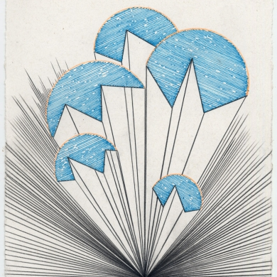 # 48 – 2012, pencil and marker on paper - 11 5/8 x 8 7/8 – Frame 12 5/8 x 9 7/8