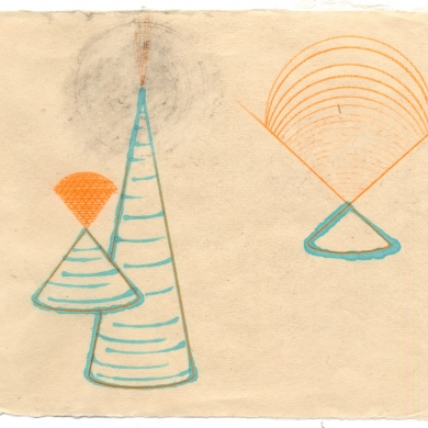 # 52 - 2012, pencil and watercolor on rice paper - 11 5/8 x 8 7/8 – Frame 12 5/8 x 9 7/8