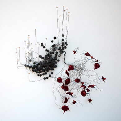 Architecture of a Scent: Cinnamon, 2012, wire, dissected fake flower parts, seed pods, cork, foil, tool dip, heat shrink, paint and flock, 59 x 44 x 29