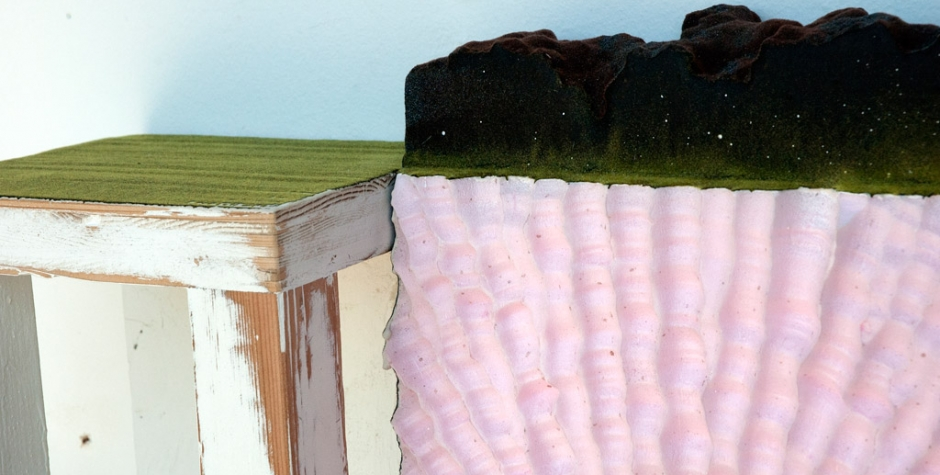 Detail: beyond the field, 2012, wood, foam, resin, silicon carbide, paint and flock, 22 x 22.5 x 10