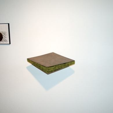 Layers-more like chapters, 2013, masonite, paint and flock, 3.5 x 21 x 12.5