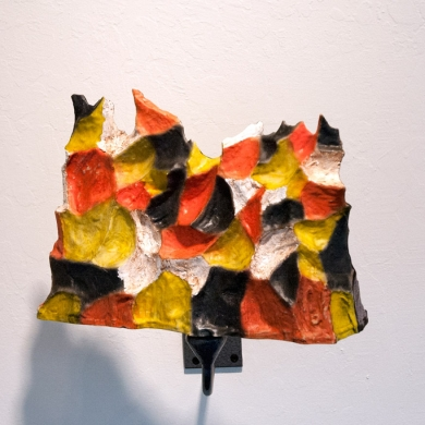 other side of Patagonia, 2013, foam, resin, paint and flock on spinning mount, 9 x 12 x 3.5