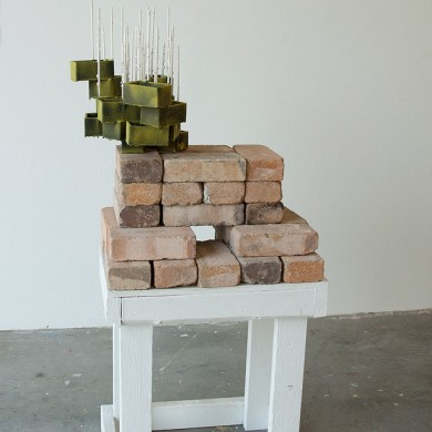 Sentinel, 2014, cardboard, wood, bricks, foam, flock and paint, 55 x 24 x 16