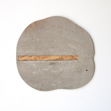 "thought bubble, 2014, wood and cement, 21"" x 22"" x .5"""